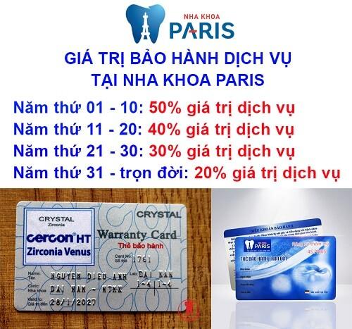 thẻ bảo hành răng sứ cercon
